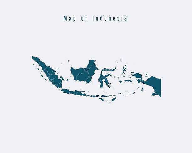 Modern Map - Indonesia with federal states Modern Map -Indonesia  with federal states indonesia stock illustrations