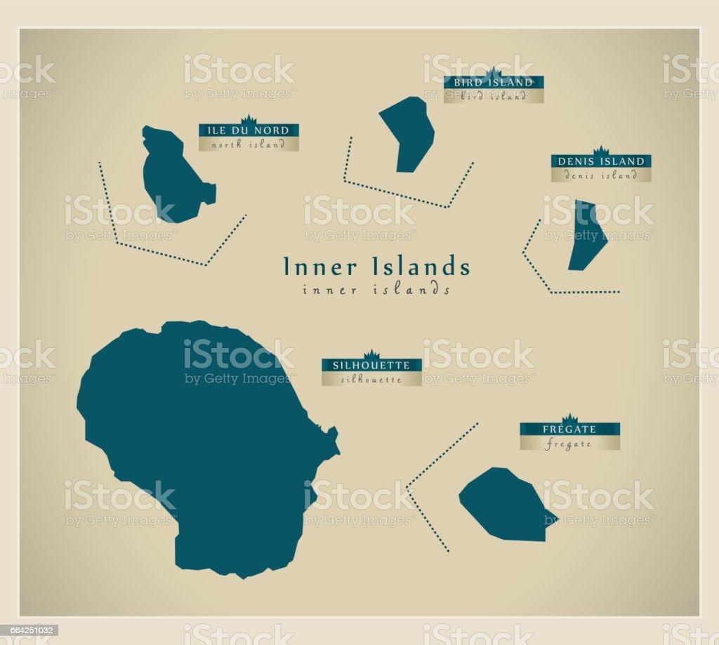 Modern Map Inner Islands Of Seychelles Sn Stock Vector Art