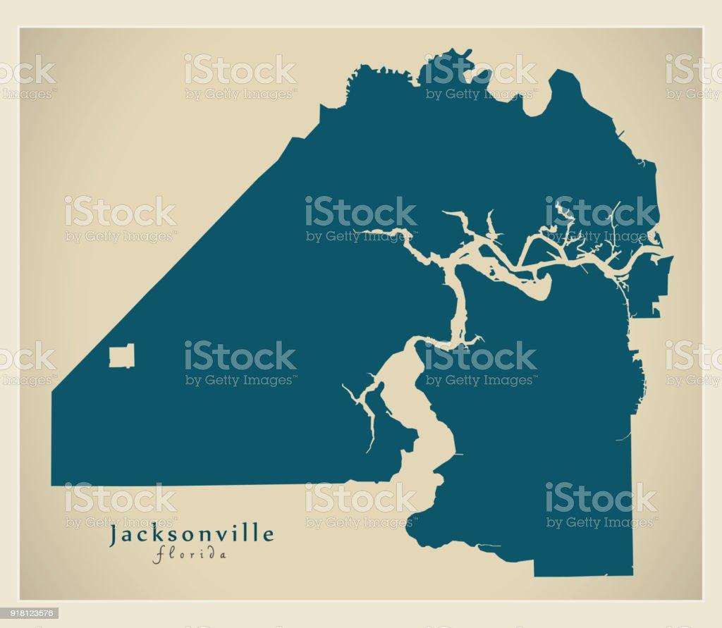 Modern Map Jacksonville Florida City Of The Usa Stock Vector Art ...