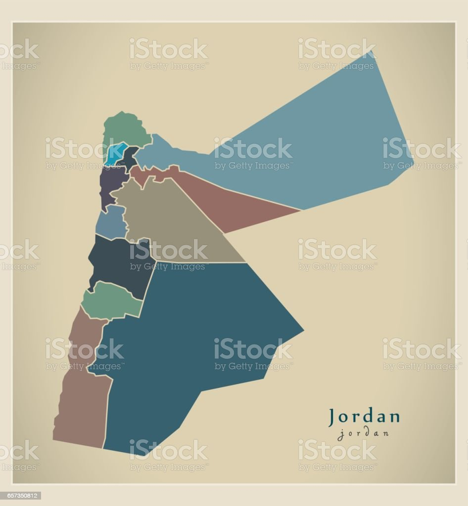Modern map jordan with governorates colored jo stock vector art modern map jordan with governorates colored jo royalty free modern map jordan with governorates gumiabroncs Image collections