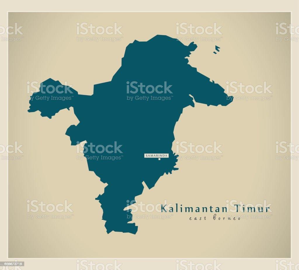 Modern Map Kalimantan Timur Id Stock Vector Art & More Images of ...