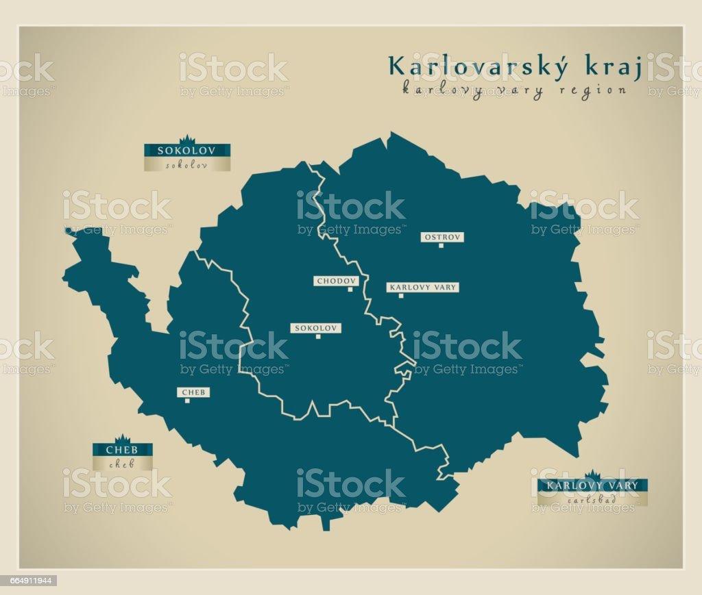 Modern Map - Karlovarsky kraj CZ modern map karlovarsky kraj cz - immagini vettoriali stock e altre immagini di carta geografica royalty-free