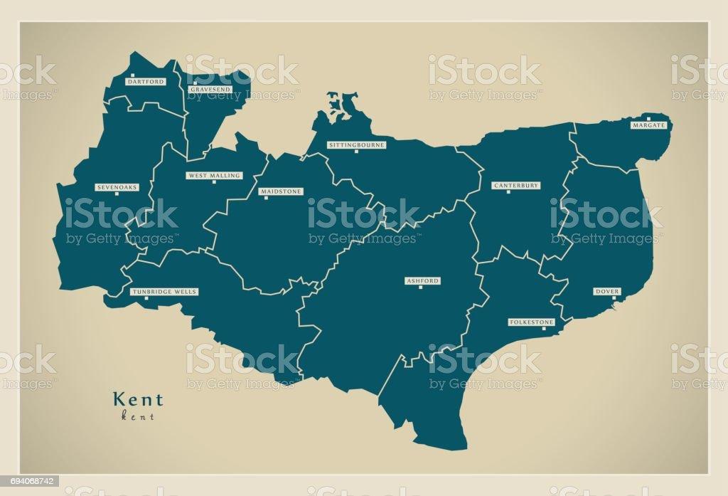 Carte Touristique Kent Angleterre.Carte Moderne Le Comte De Kent Avec Illustration Quartiers Uk