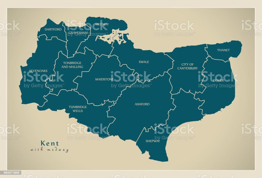 Map Of England Kent.Modern Map Kent County With Labels Including Medway Uk Illustration