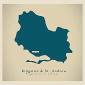 Modern Map - Kingston and St Andrew JM