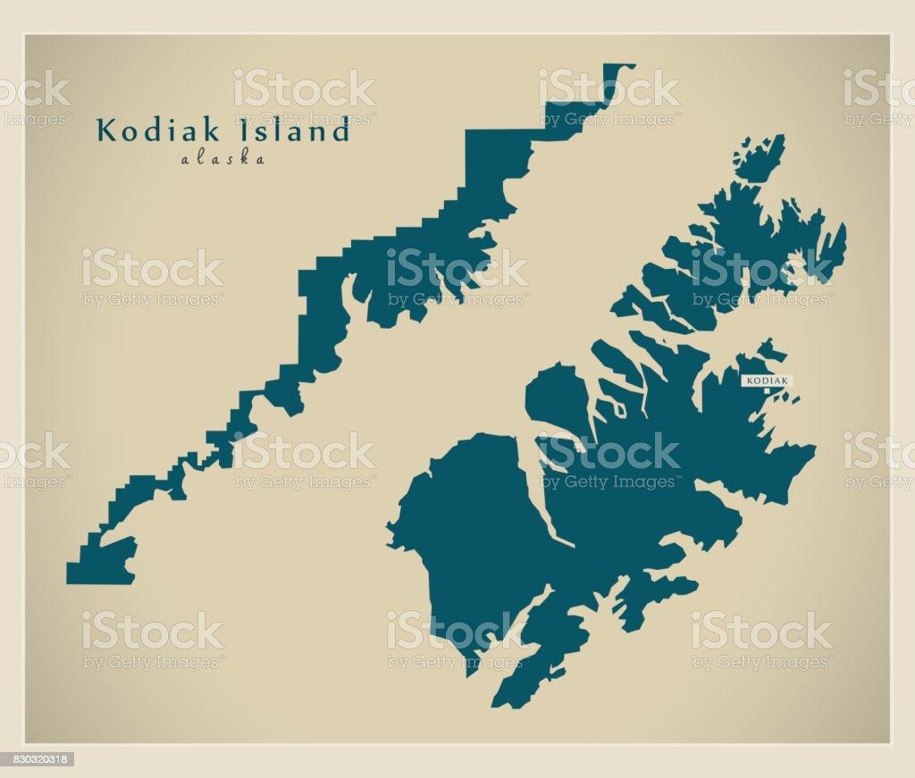 Modern Map Kodiak Island Alaska County Usa Illustration stock
