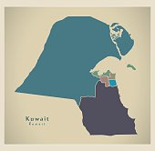 Modern Map - Kuwait with governorates colored KW