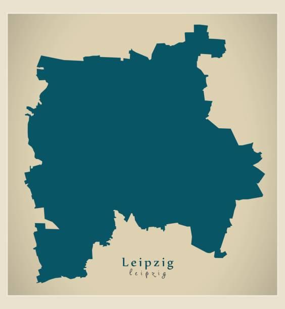 bildbanksillustrationer, clip art samt tecknat material och ikoner med moderna karta - leipzig city av tyskland de - germany map leipzig