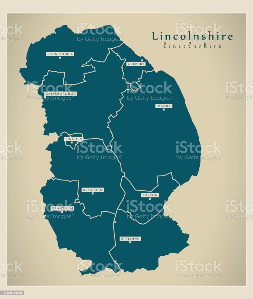 Modern Map Lincolnshire County With Districts Uk Illustration Stock