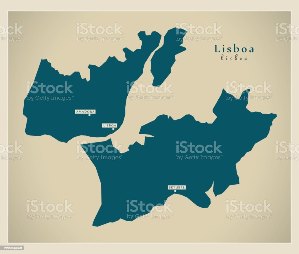 Modern Map Lisboa Portugal Refreshed Pt Stock Vector Art & More ...