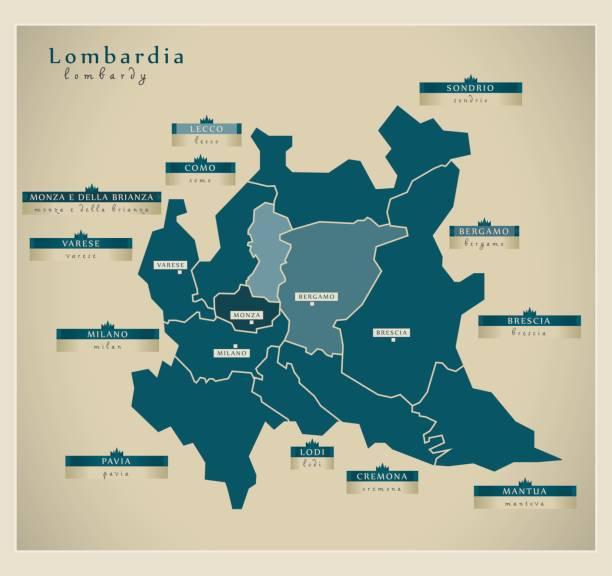 illustrazioni stock, clip art, cartoni animati e icone di tendenza di modern map - lombardia it - lombardia