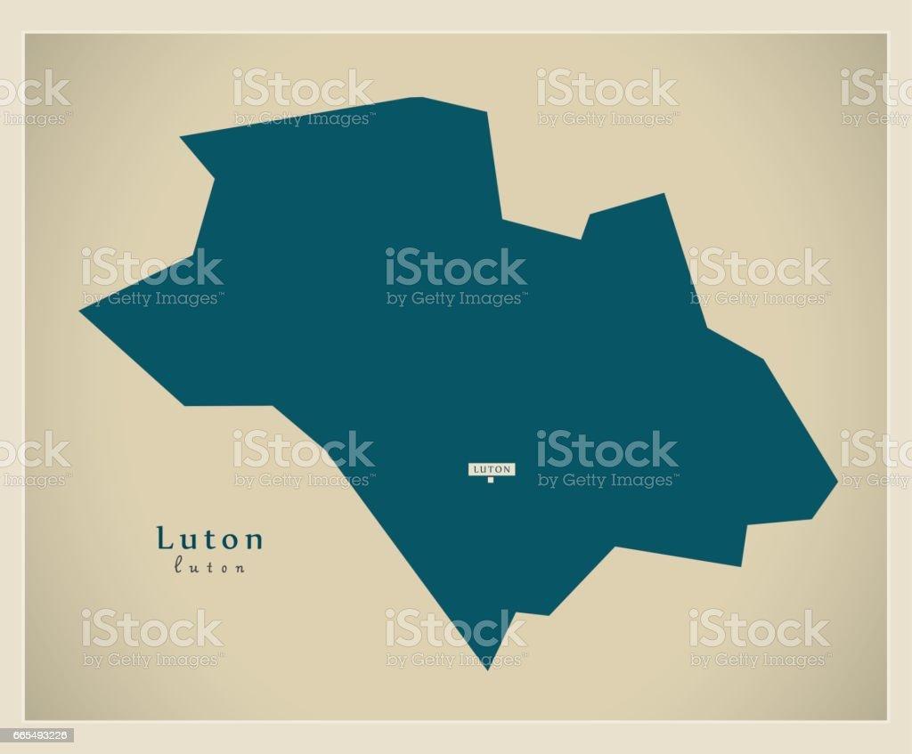 Modern Map - Luton unitary authority England UK vector art illustration