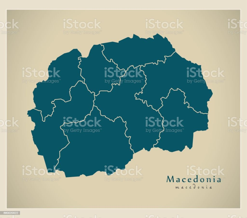Modern Map - Macedonia with regions MK vector art illustration