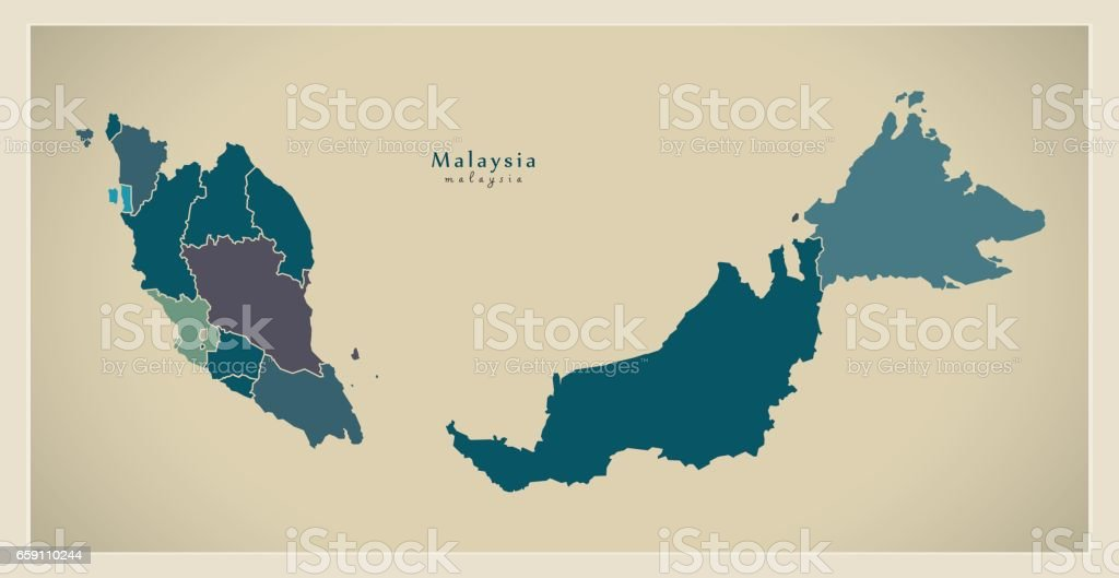 Modern Map - Malaysia with federal states MY vector art illustration
