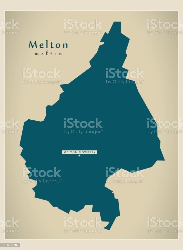 Leicestershire Uk Map.Modern Map Melton District Of Leicestershire England Uk Illustration