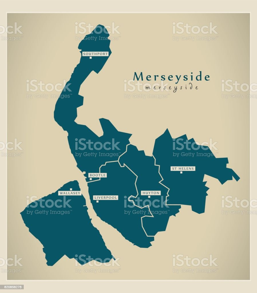 Modern map merseyside metropolitan county with districts and cities modern map merseyside metropolitan county with districts and cities uk england royalty free modern gumiabroncs Image collections