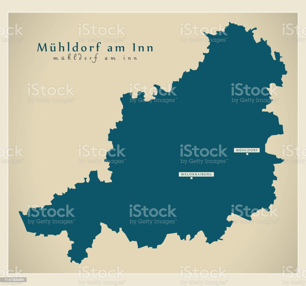 Karte Bayern.Moderne Kartemühldorf Am Inn Landkreis Bayern De Stock Vektor Art