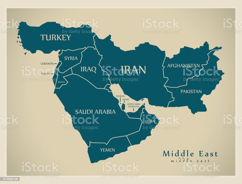 Modern Map - Middle East with countries illustration vector art illustration