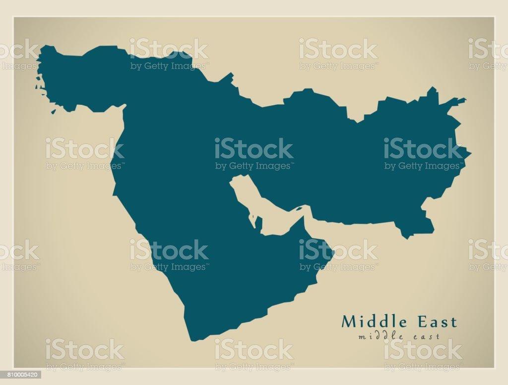 Modern Map - Middle East world region illustration vector art illustration
