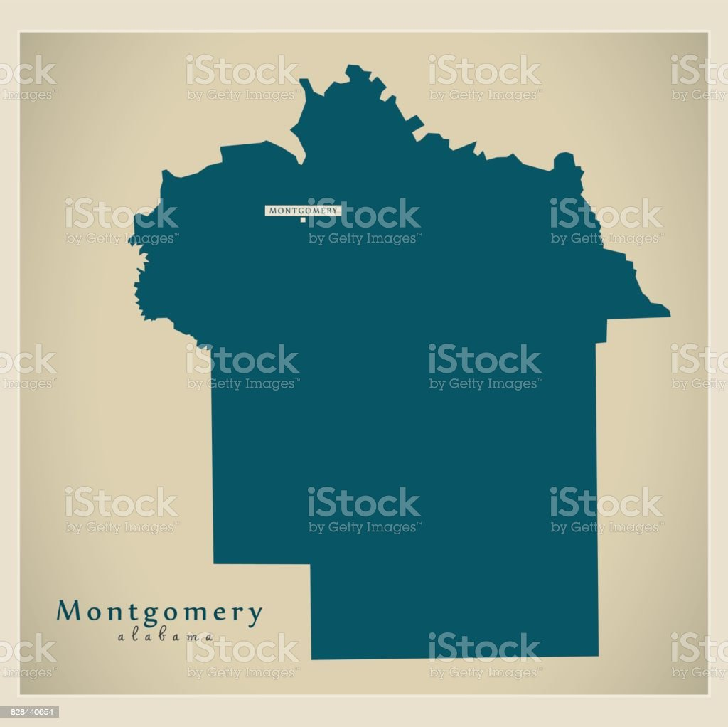 Modern Map Montgomery Alabama County Usa Illustration Stock Vector