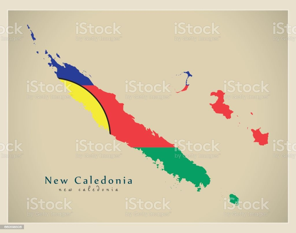 Modern Map - New Caledonia flag colored NC royalty-free modern map new caledonia flag colored nc stock vector art & more images of cartography
