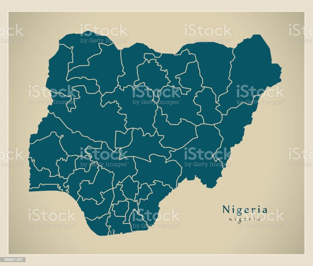 Modern Map - Nigeria with provinces NG royalty-free modern map nigeria with provinces ng stock vector art & more images of cartography