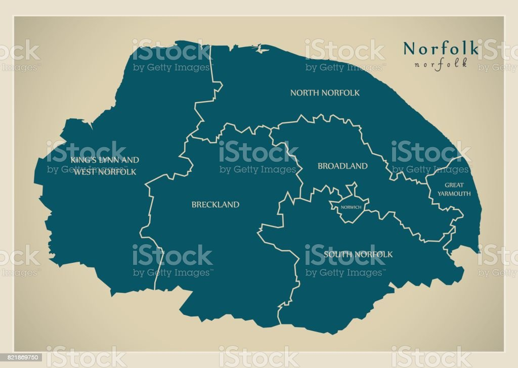 Map Of England Norfolk.Modern Map Norfolk County With Detailed Captions Uk Illustration