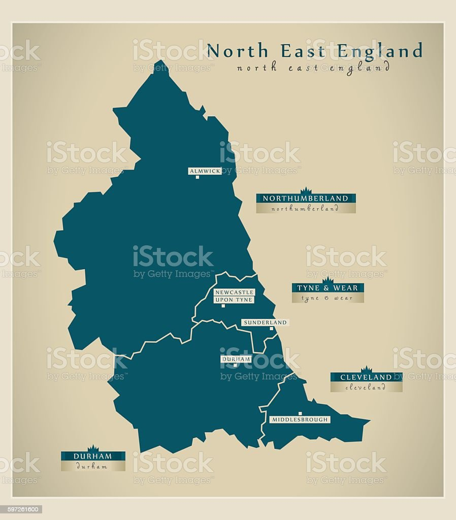 Map Of North Of England Uk.Modern Map North East England Uk Stock Illustration Download Image Now