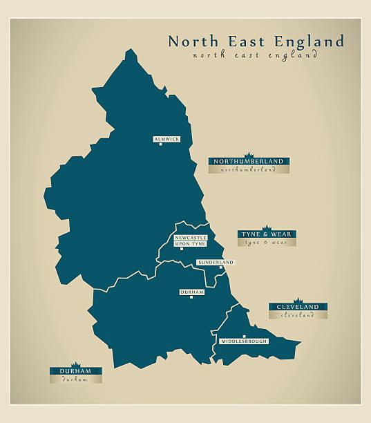 Modern Map - North East England UK Modern Map - North East England UK northeastern england stock illustrations