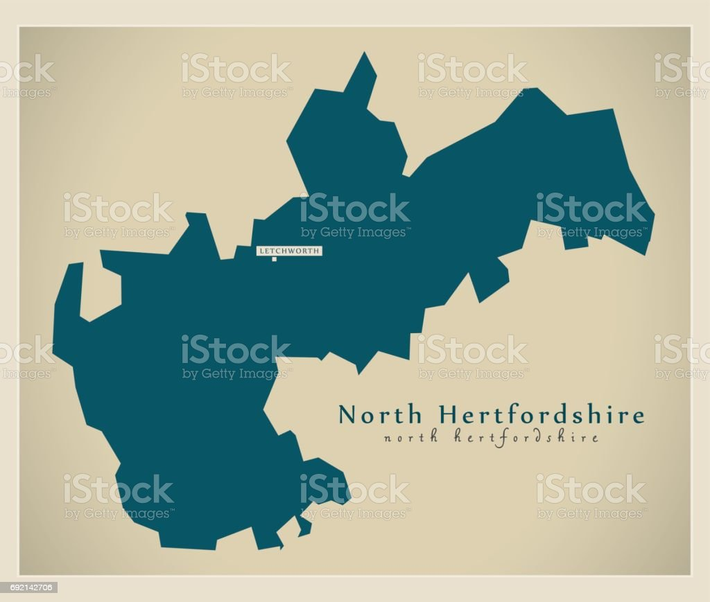Modern Map - North Hertfordshire district UK illustration vector art illustration