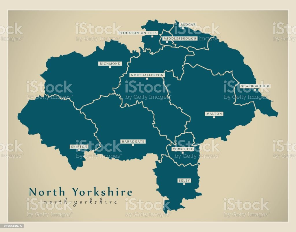 Modern Map - North Yorkshire county with cities and districts England UK illustration