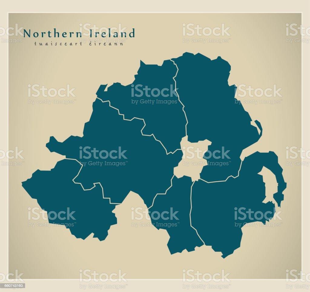 Map Of Uk Ireland Counties.Modern Map Northern Ireland With Counties Uk Stock Vector Art More