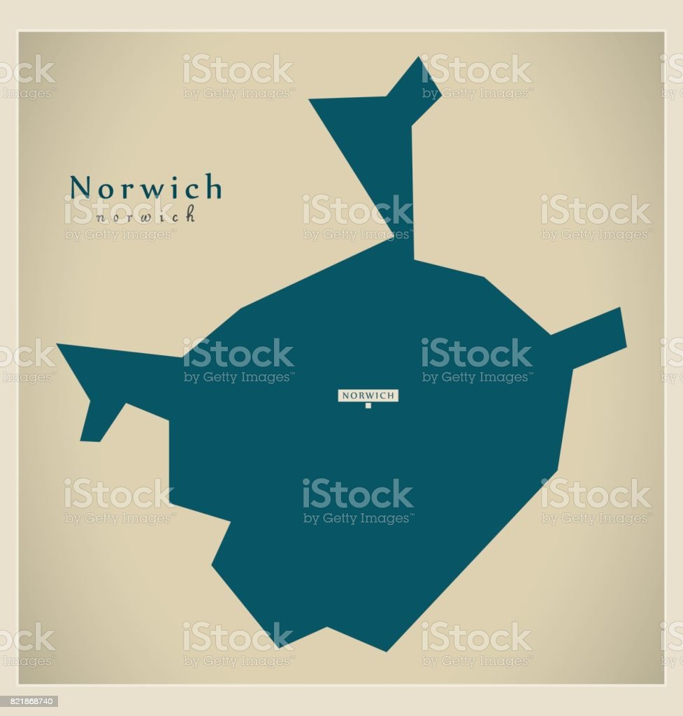 Carte Angleterre Norwich.Carte Moderne Illustration De Norwich District De Norfolk En