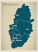 Modern Map - Nottinghamshire county with cities and districts England UK illustration