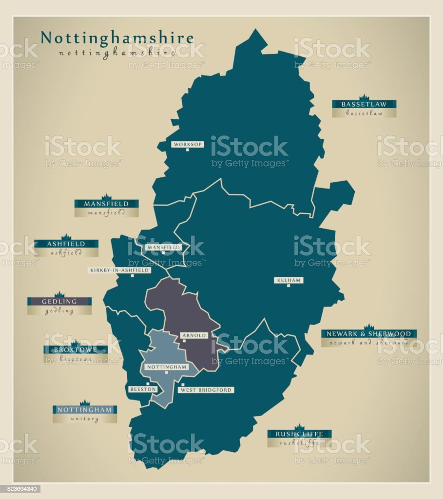 Modern map nottinghamshire county with district labels england uk modern map nottinghamshire county with district labels england uk illustration royalty free modern map gumiabroncs Image collections