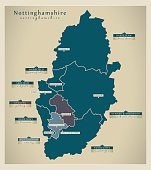 Modern Map - Nottinghamshire county with district labels England UK illustration