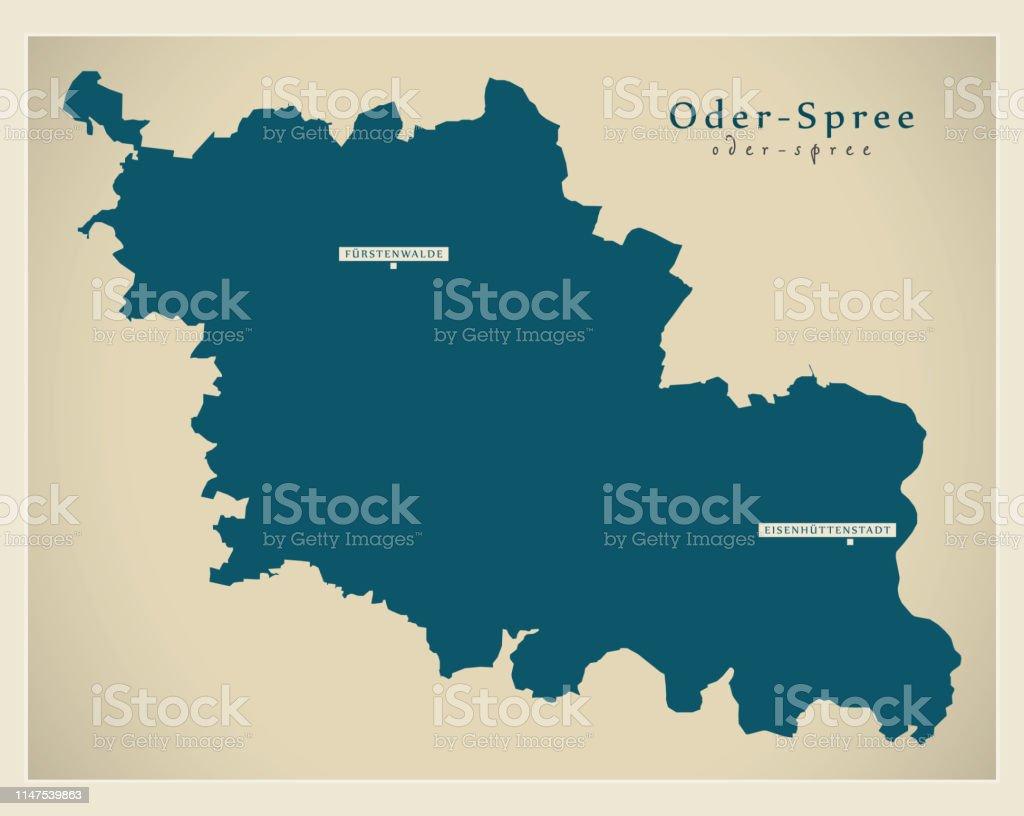 Spree Karte.Moderne Karteoderspree Landkreis Brandenburg De Stock Vektor