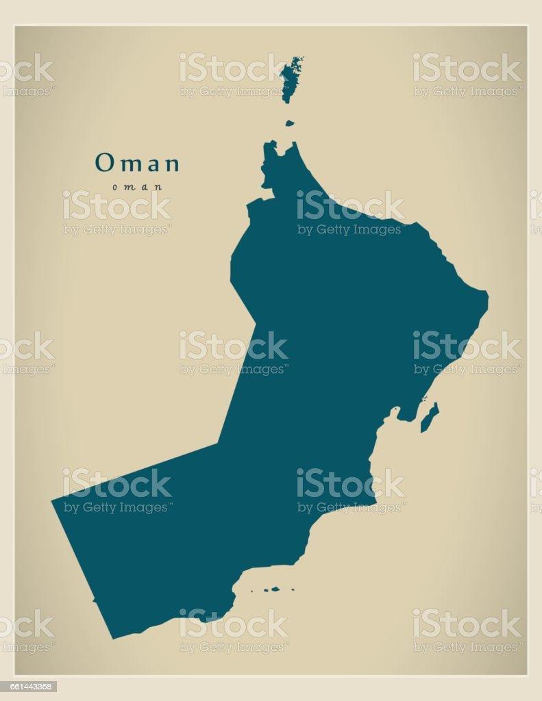 Modern Map - Oman OM vector art illustration