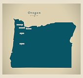 Modern Map - Oregon USA
