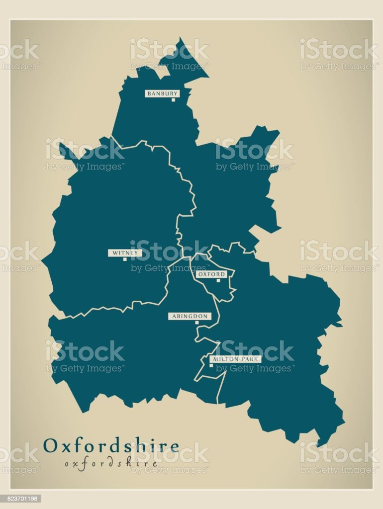 Modern Map - Oxfordshire county with cities and districts England UK illustration vector art illustration