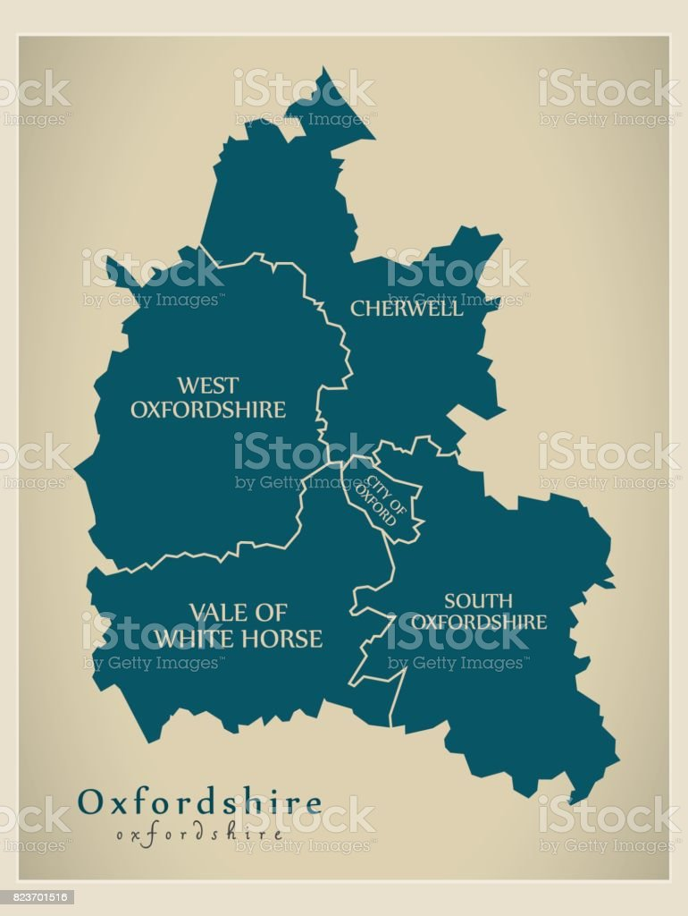 Modern Map - Oxfordshire county with district captions England UK illustration vector art illustration