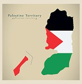 Modern Map - Palestine Territory flag colored PS