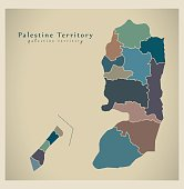 Modern Map - Palestine Territory with borders colored PS