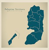 Modern Map - Palestine Territory with borders PS