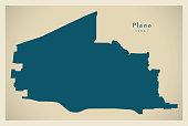 Modern Map - Plano Texas city of the USA