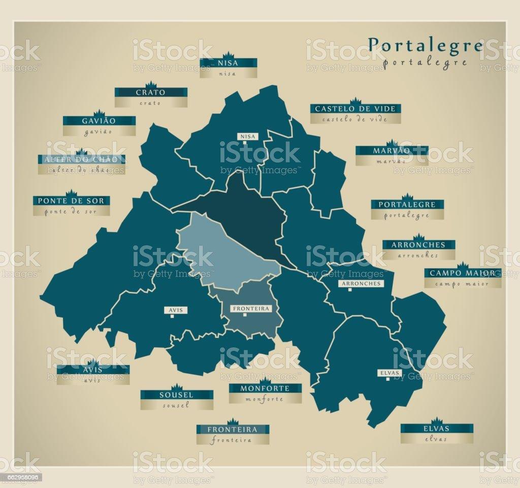 Modern Map - Portalegre PT - ilustração de arte vetorial