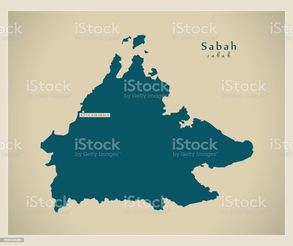 Modern Map Sabah My Stock Vector Art More Images Of Cartography