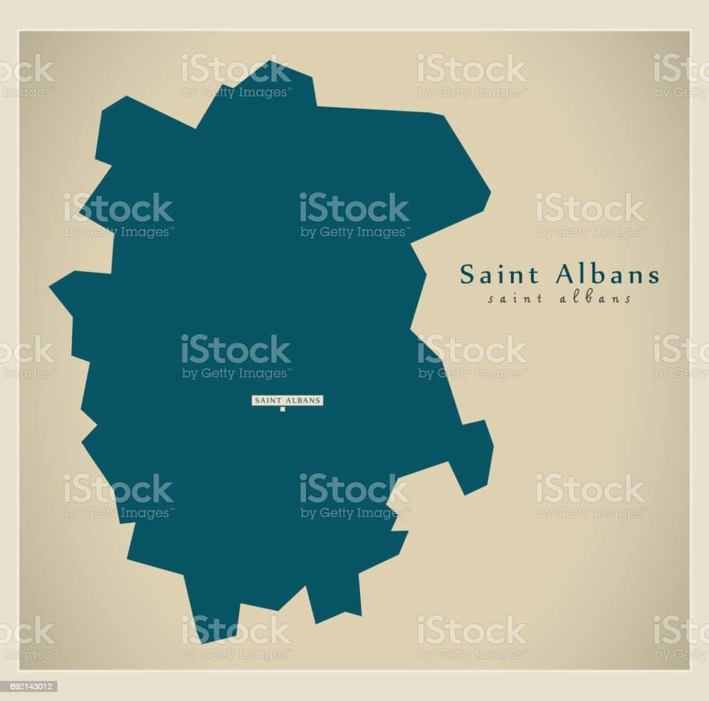 Modern Map - Saint Albans district UK illustration vector art illustration