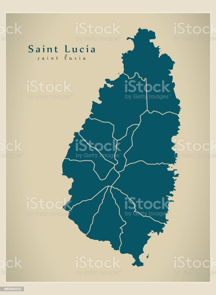 Modern Map - Saint Lucia with districts LC vector art illustration
