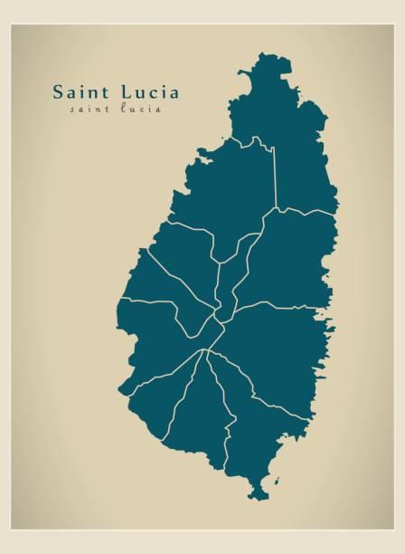 bildbanksillustrationer, clip art samt tecknat material och ikoner med moderna karta - saint lucia med distrikt lc - saint lucia